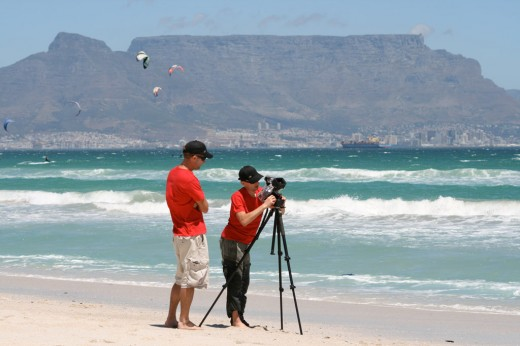 Eddy and Graham prepare the shot from the beach
